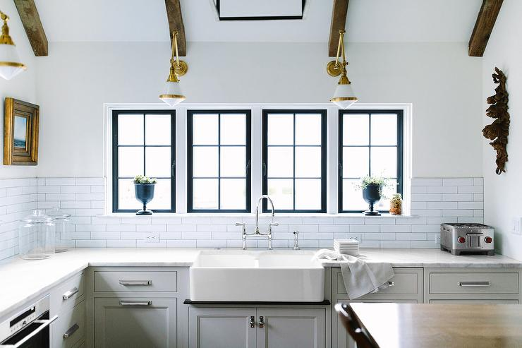Dual Farmhouse Kitchen Sink With Glass And Brass Swing Arm