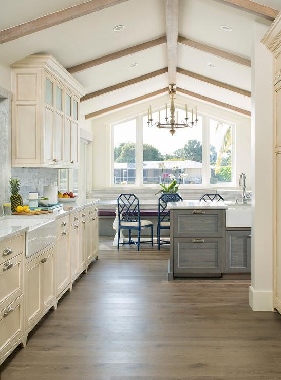 Cream Kitchen With Gray Wash Oak Island Transitional