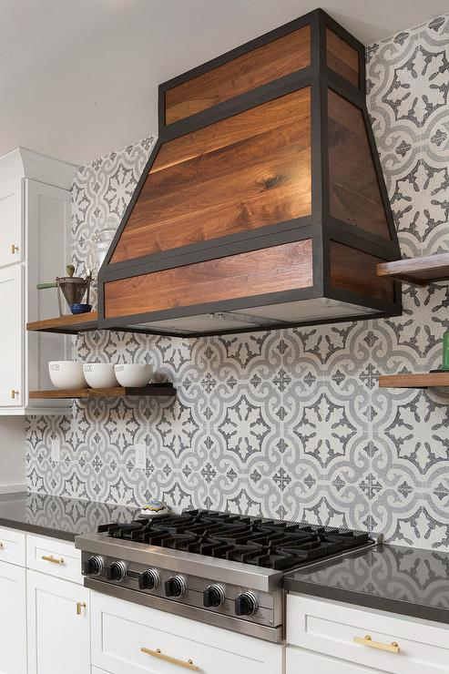 blue and gray cement kitchen tile