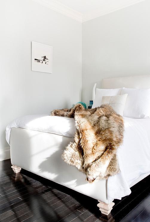 Gray Faux Fur Throw Blanket Contemporary Bedroom