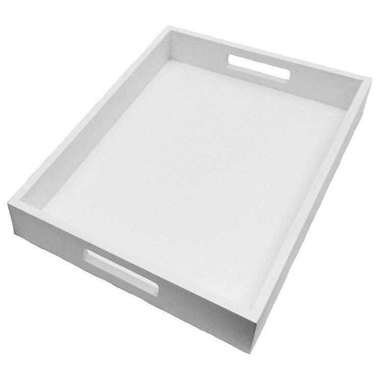 white wood rectangle tray