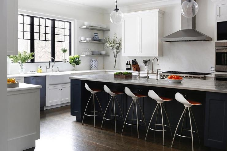 White Cabinets With Blue Kitchen Island Transitional