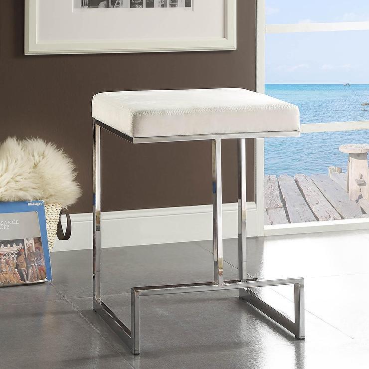 Ida Chrome Plated Metal Base Counter Height Stool