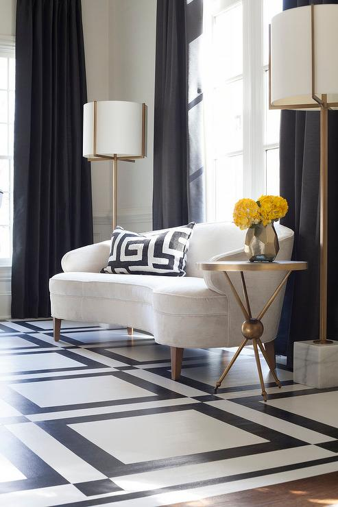 White Curved Sofa With Brass And Marble Floor Lamps Transitional Dining Room