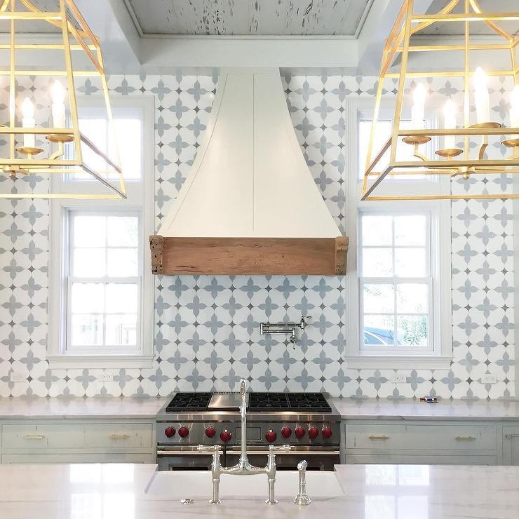 White And Blue Marble Mosaic Kitchen Backsplash