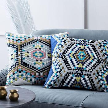 Rustic Luxe Sequin Tile Pillow Cover Pottery Barn