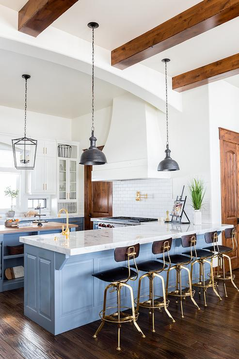 Blue Kitchen Peninsula With Charcoal Gray Industrial