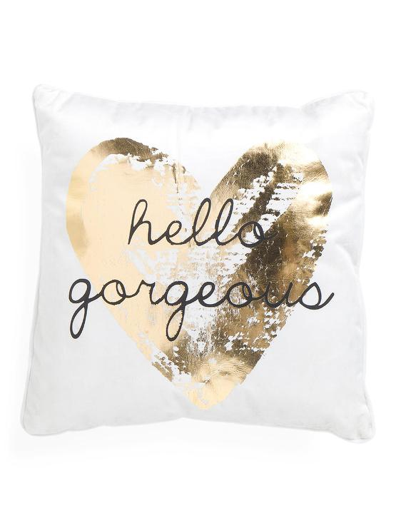 white velvet hello gorgeous pillow