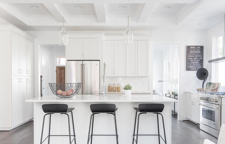Low Back Gray Linen Counter Stools At Island Transitional Kitchen