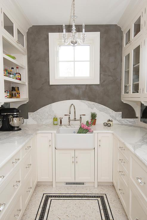 Mini Chandelier Over Farm Pantry Sink Transitional Kitchen