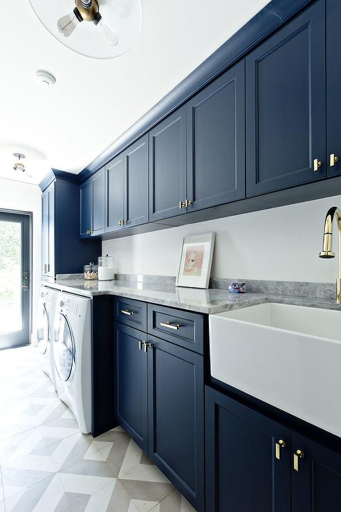 Stacked Cabinets Over Washer And Dryer Transitional