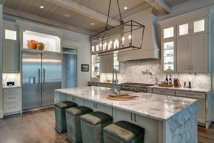White Kitchen Gray Island