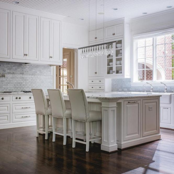 Light Gray Leather Counter Stools With Island