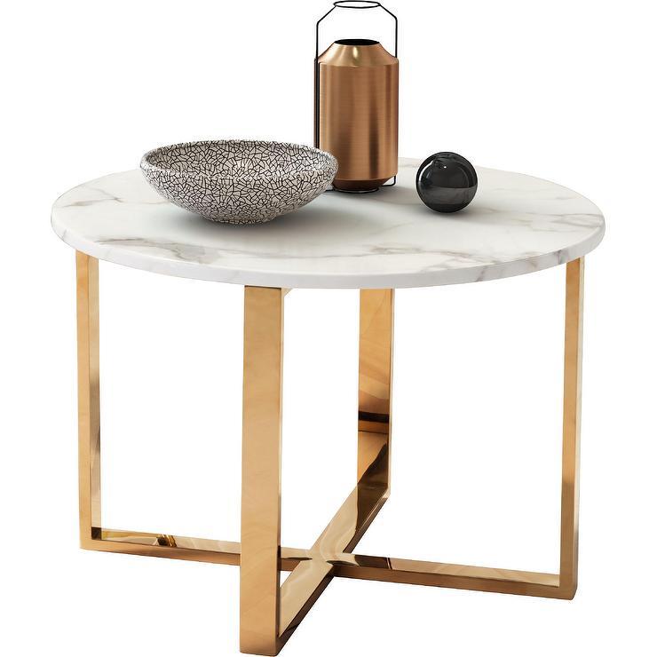 bennett round white marble end table