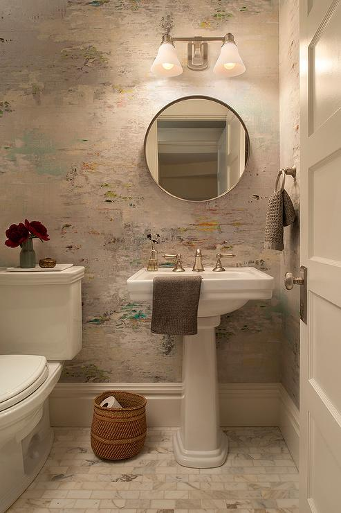 Watercolor Wallpaper In Powder Room Transitional Bathroom