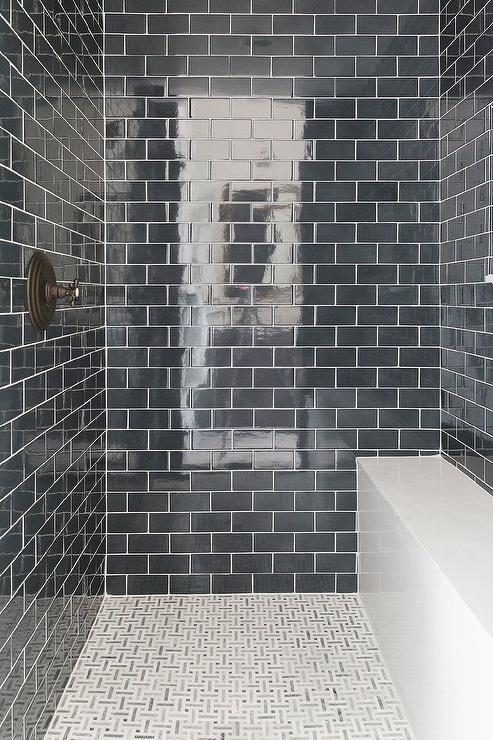 gray maze shower floor tiles