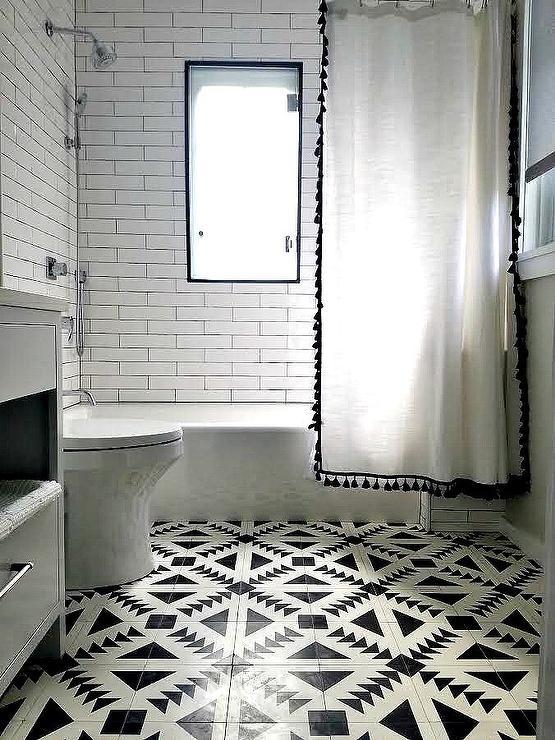 Black Tassel Shower Curtain In Black And White Bathroom Contemporary Bathroom