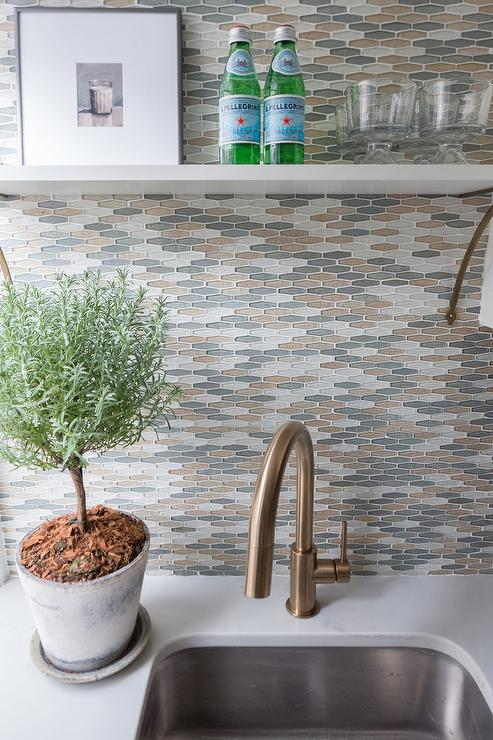 Gold And Gray Kitchen Backsplash Tiles Design Ideas