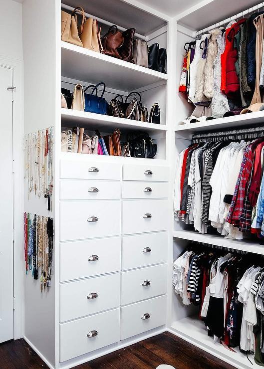 Built In Closet Dresser Stacked Under Purse Shelves