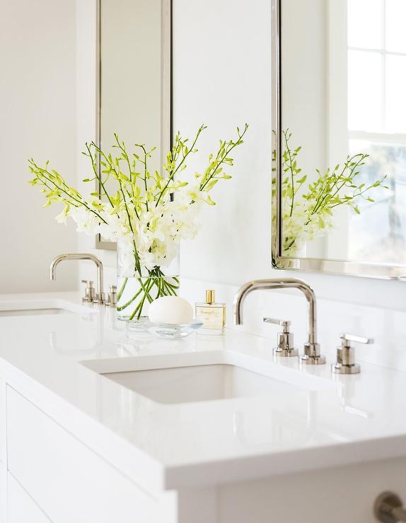 glossy white quartz bath vanity top