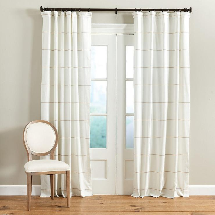 Beige Linen Weave Curtain Panel