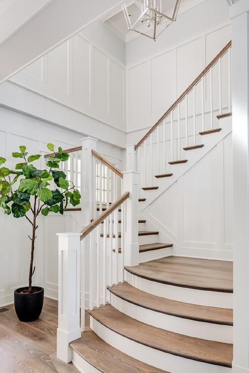 Stained Oak Curved Stair Treads Cottage Entrance Foyer | Oak Steps For Stairs | Wood Floor | Iron Baluster | Rounded | Stained | Closed Tread