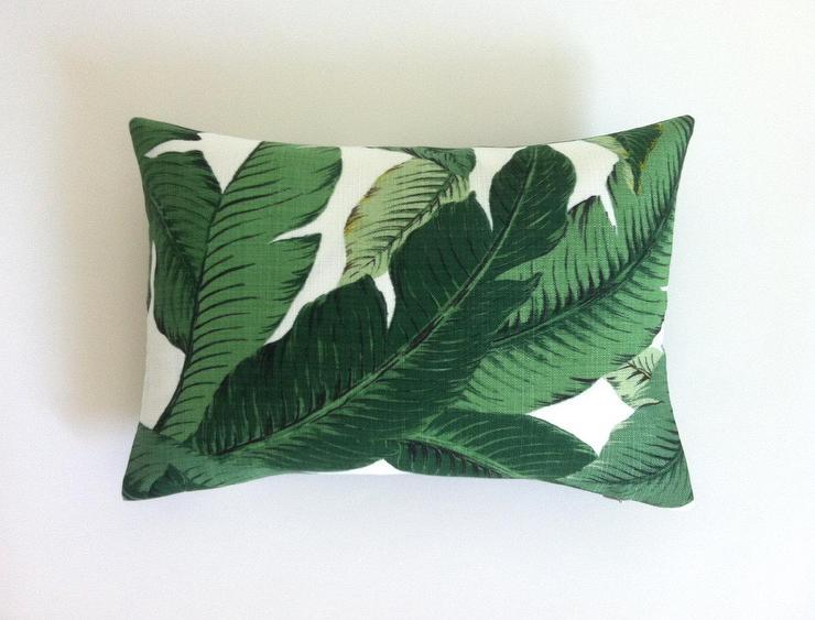 green white banana leaves pillow cover