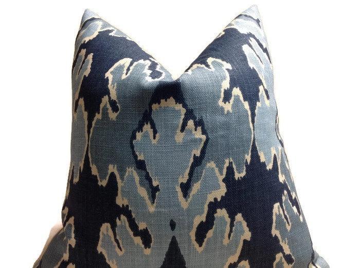 bengal bazaar blue ikat pillow cover
