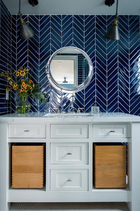 White Bathroom Tiles With Black Trim Transitional Bathroom
