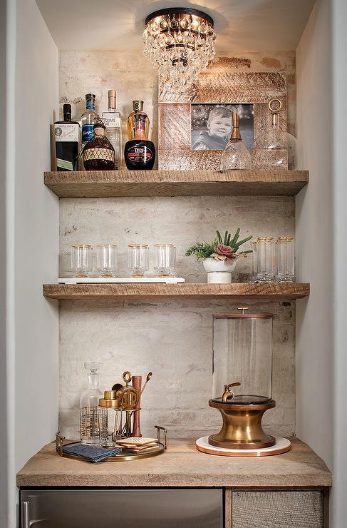 Rustic White Brick Bar Backsplash Cottage Kitchen