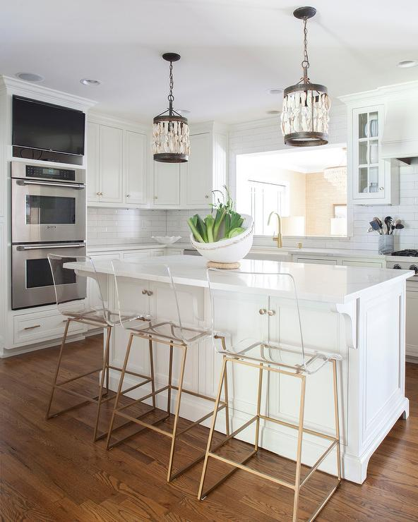 Shells Pendant Lights Over Island Transitional Kitchen