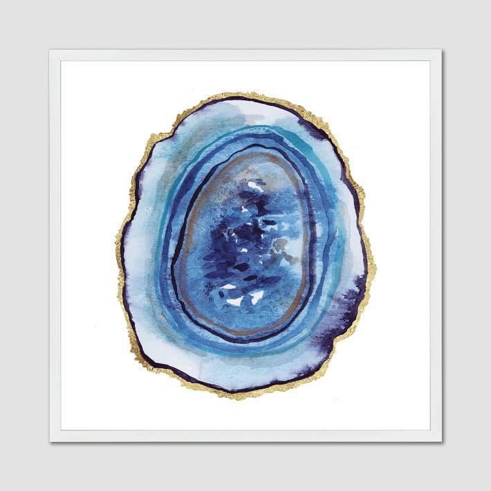 Blue Gold Foil Agate Art