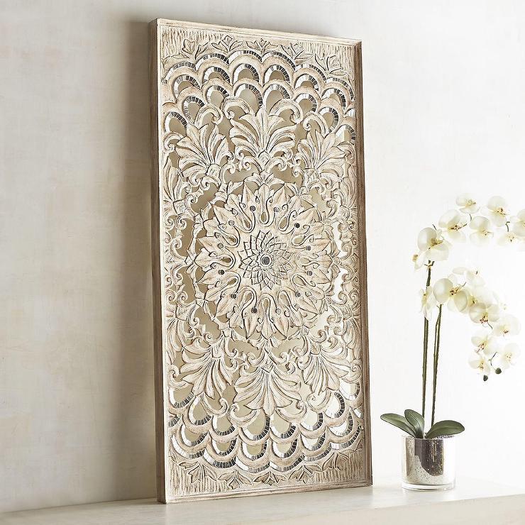 Rectangular Medallion Carved Whitewashed Panel