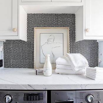 black penny tile backsplash design ideas