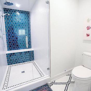 large blue hex shower wall tiles design