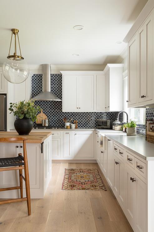 Black Backsplash Tiles with White Cabinets - Transitional ... on Best Backsplash For Black Countertops  id=59535