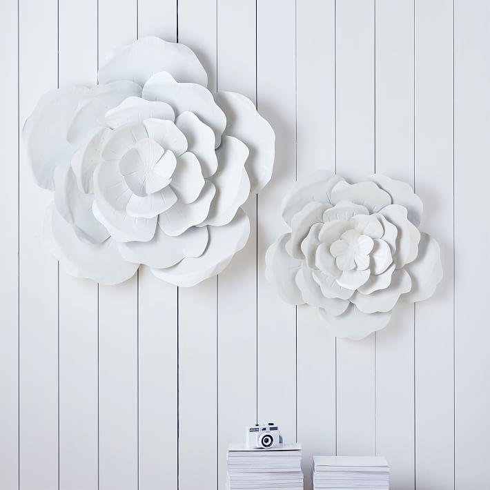 White Flower Metal Art Wall