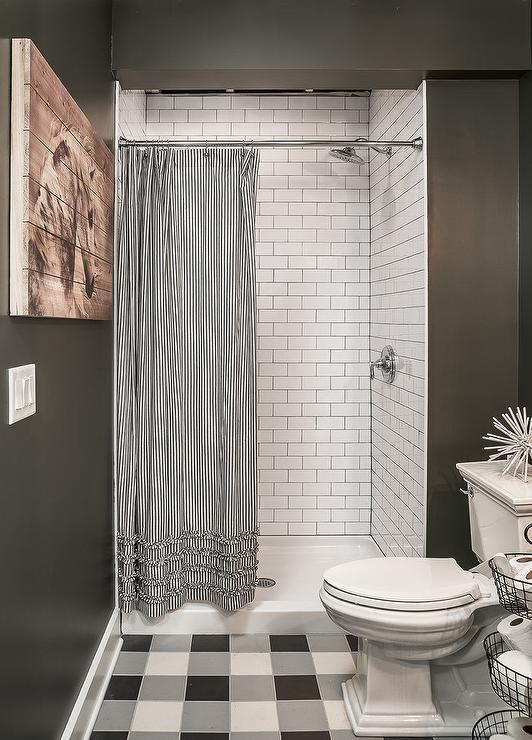 black and white ruffled shower curtain