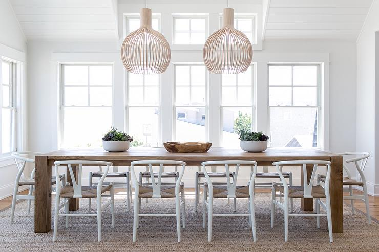 White Wood Chairs At Caramel Stained Oak Dining Table