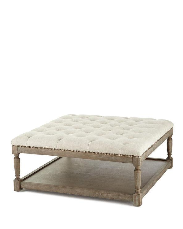cade beige tufted linen ottoman table