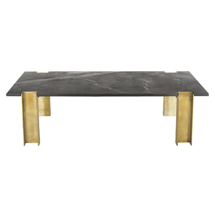 alcide black marble brass coffee table