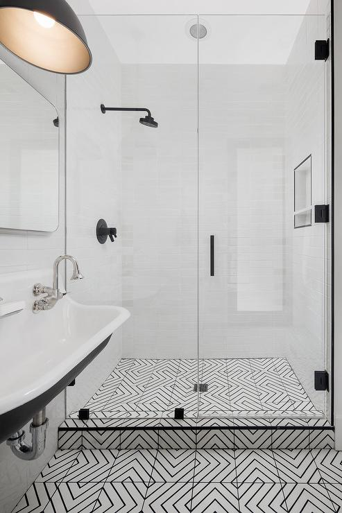 black and white geometric floor tiles