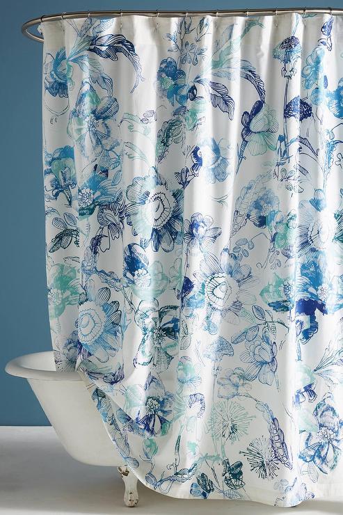hariette blue green floral shower curtain