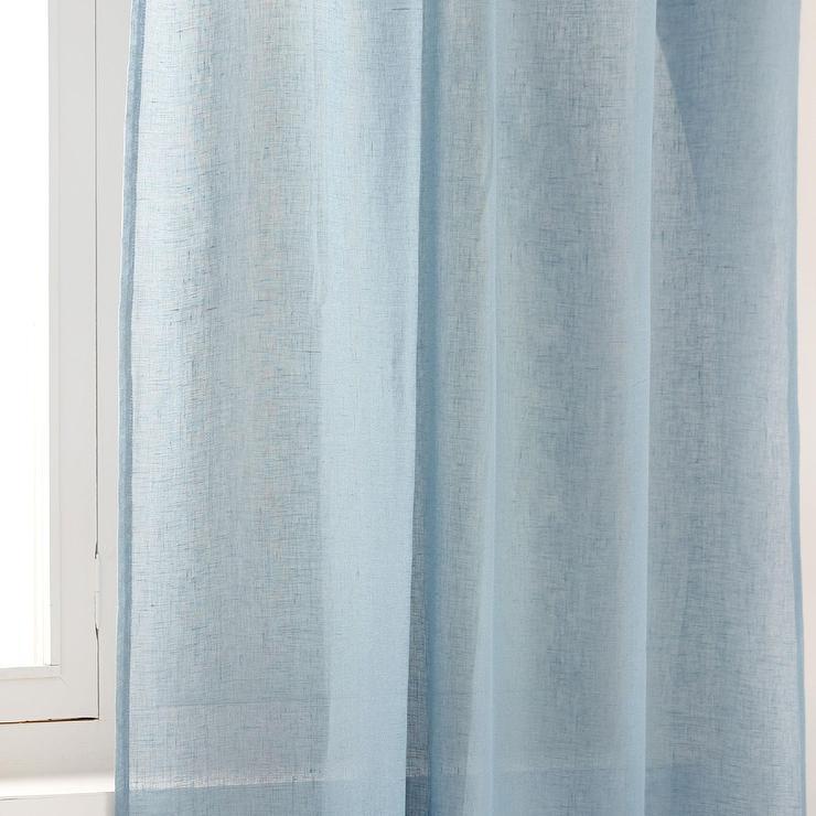 Sheer Linen Window Panel Regal Blue West Elm