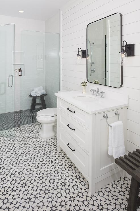black and white mosaic floor tiles with