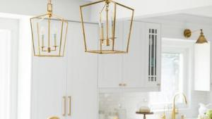 Brass Mini Lanterns Over Marble Top Island Transitional