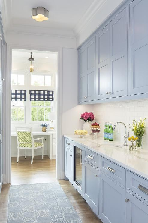 Periwinkle Blue Pantry Cabinets With White Glazed Subway Tiles Transitional Kitchen