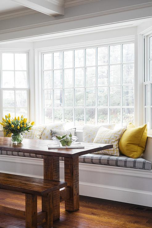 Window Seat Dining Bench With Rectangular Dining Table