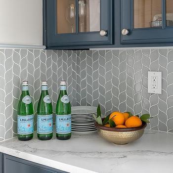 gray glass leaf print butlers