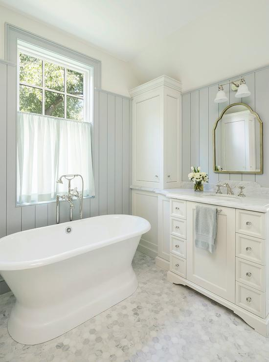 Alyssa Rosenheck All White Master Bathroom With Sheer Cafe Curtains